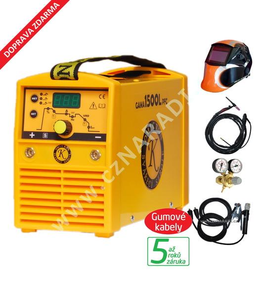 GAMA 1500L PFC + kabely 4m + kukla + TIG hořák + ventil