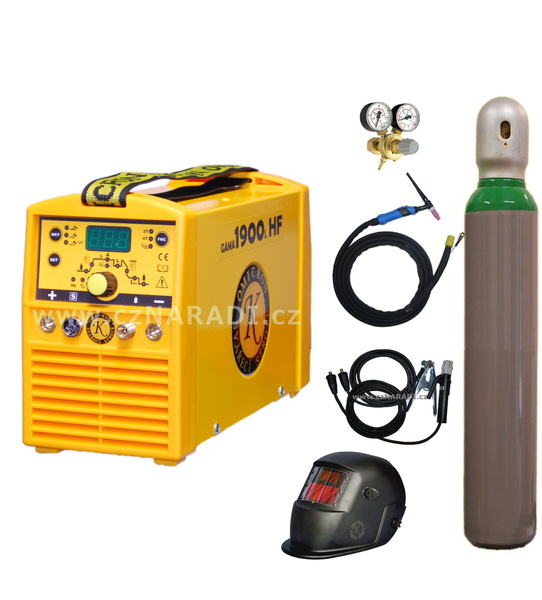 GAMA 1900L HF + kabely + kukla + TIG hořák + ventil + lahev
