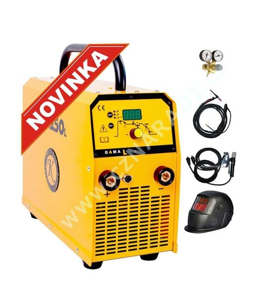 GAMA 250L - třífázová svářečka + kabely 5m + kukla + TIG hořák + ventil