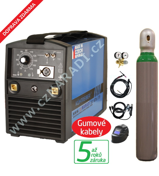 KITin 170 + kabely 4m + kukla + TIG hořák + ventil + hahev