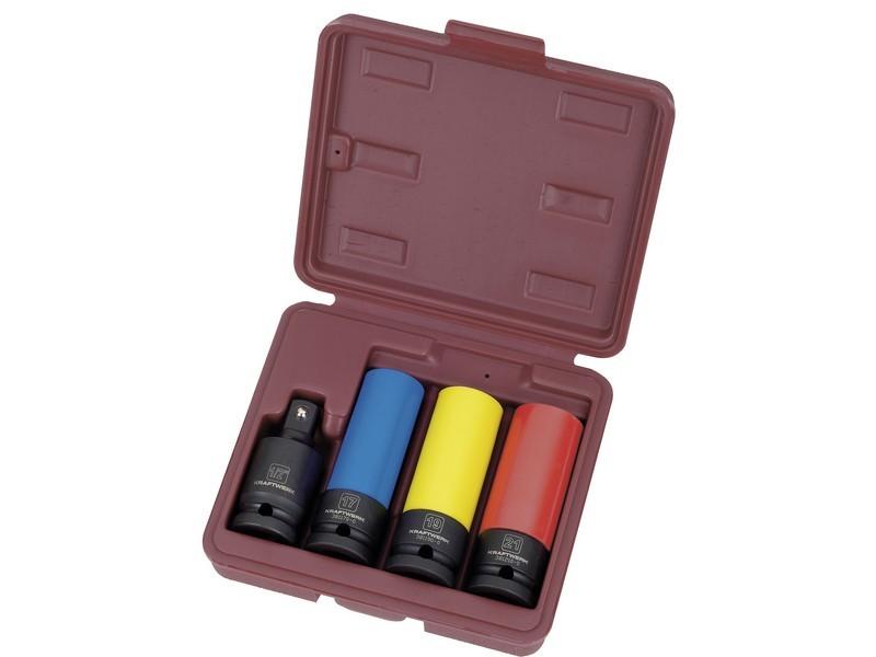"""Souprava nástavců 1/2"""" 17-21mm prodloužené plast IMPACT 4ks"""